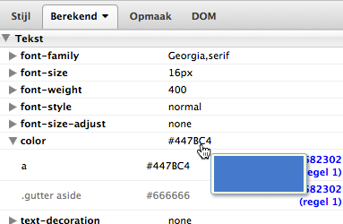 Screenshot: In Firebug wordt aangegeven welke tekstkleur gebruikt is.
