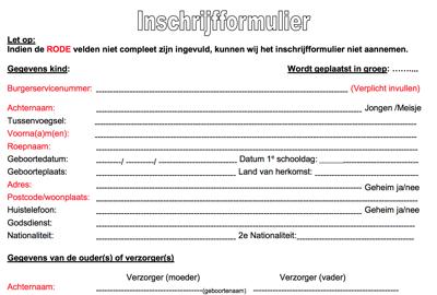 Formulier waarbij verplichte velden een rood label hebben, optionele velden een zwart label