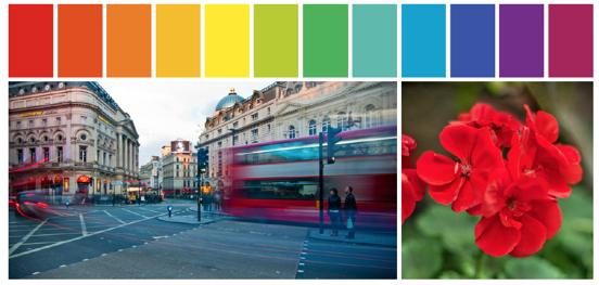 reeks kleuren en 2 kleurrijke foto's